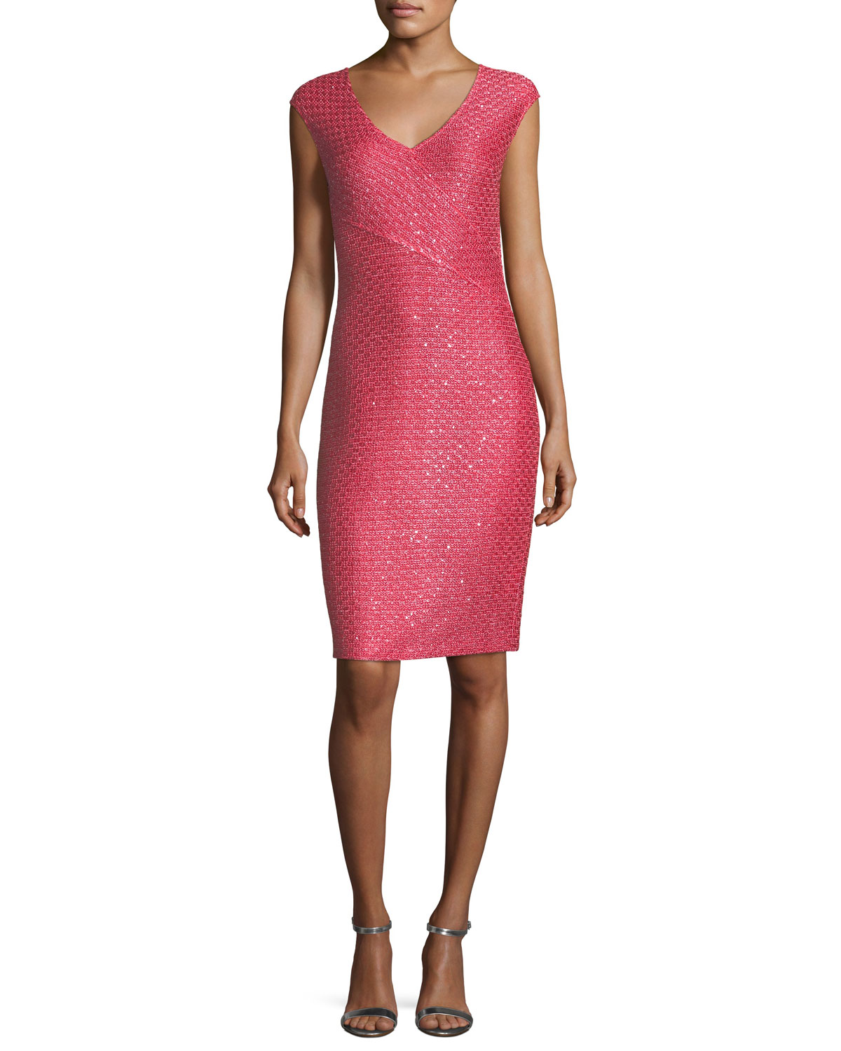 Hansh-Knit V-Neck Cocktail Dress