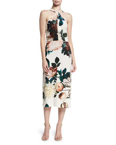 Ramani Halter-Neck Floral-Print Midi Cocktail Dress
