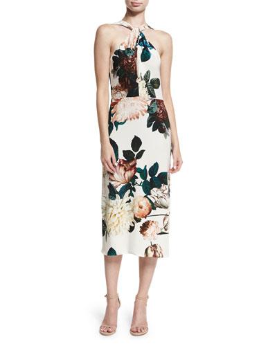 Ramani Halter-Neck Floral-Print Midi Cocktail Dress