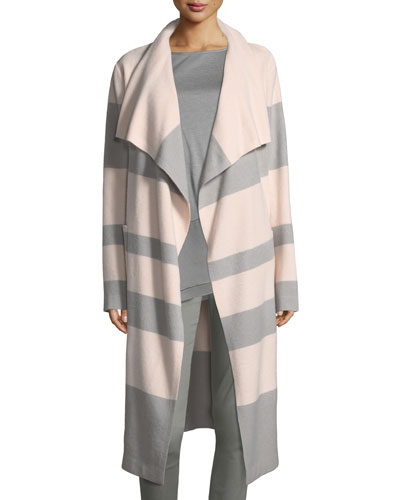 Striped Felted Long Coat