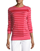 Intarsia Striped Knit Sweater