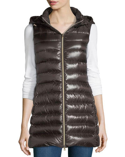Long Ribbed Fitted Zip-Front Vest w/ Removable Hood