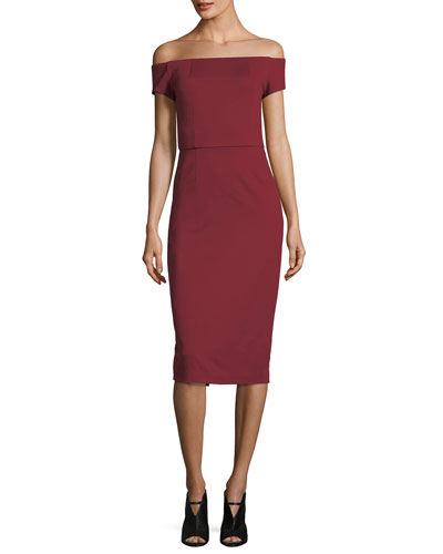 Off-the-Shoulder Ponte Sheath Cocktail Dress