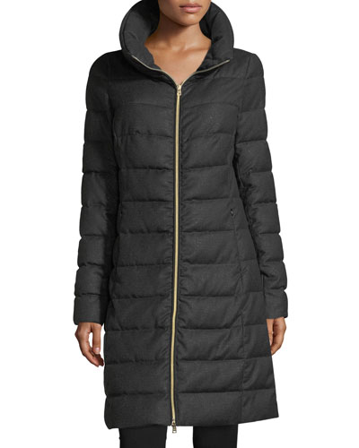 Long-Sleeve Zip-Front Quilted Puffer Lurex® Coat