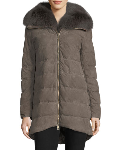 Zip-Front Quilted Puffer Suede Coat w/ Fur Collar