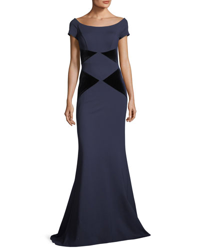 Off-the-Shoulder Velvet Column Evening Gown