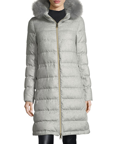 Long Hooded Quilted Puffer Coat w/ Fur Trim