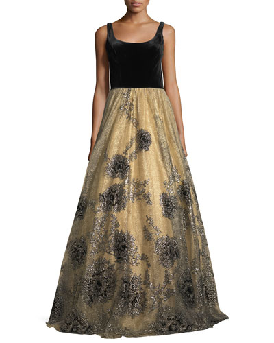 Sleeveless Scoop-Neck Velvet Beaded Tulle Evening Gown