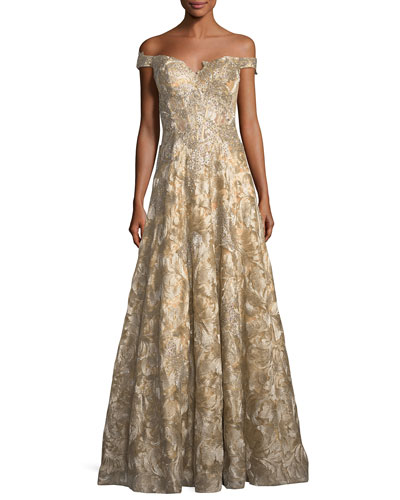 Off-the-Shoulder Sweetheart Lace Brocade Evening Gown