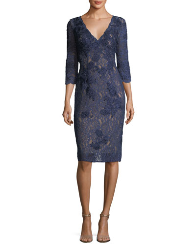 Long-Sleeve V-Neck Lace Cocktail Dress