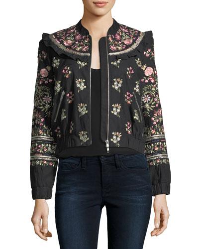 Whisper Victorian Floral-Embroidered Bomber Jacket