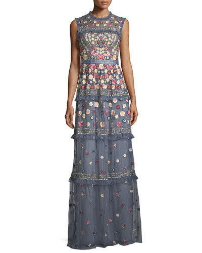 Floral-Embroidered Jet Sleeveless Tulle Evening Gown