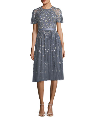 Comet Victorian Floral Lace Midi Cocktail Dress