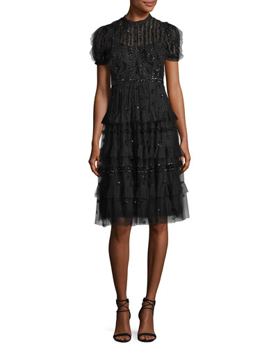Jet Frill Embellished Tulle Midi Cocktail Dress