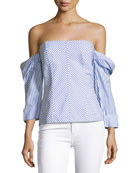 Off-the-Shoulder Striped Poplin Bustier Top
