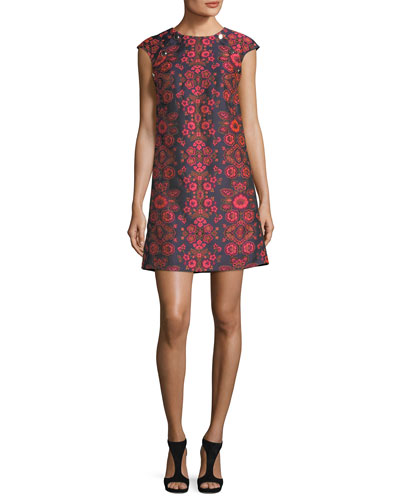 Floral-Jacquard Cap-Sleeve Shift Dress w/ Buttons
