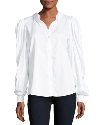 Marcus Pouf-Sleeve Button-Front Poplin Top