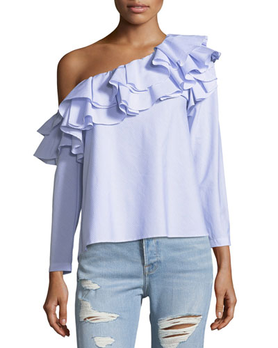 Dahlia One-Shoulder Ruffled Narrow-Striped Poplin Top