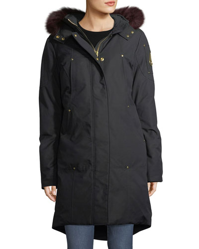 Hooded Parka Jacket w/ Fur Trim
