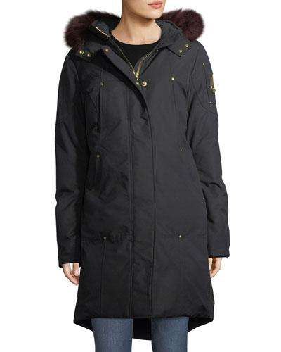 Hooded Parka Jacket w/ Fur Trim