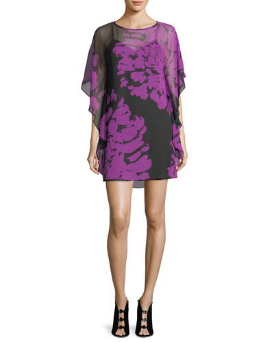 Floral-Printed Silk Caftan Dress
