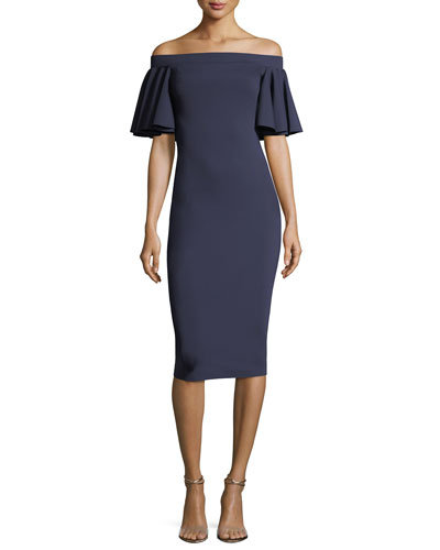 Off-the-Shoulder Ruffle Sleeve Sheath Cocktail Dress