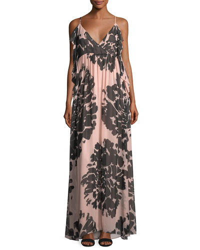 Surplice Sleeveless Floral-Printed Silk Chiffon Maxi Dress
