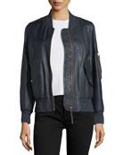 Penhale Lightweight Leather Bomber Jacket