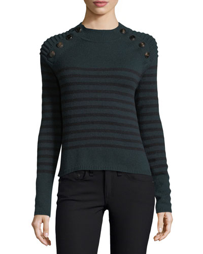 Breton Striped Mock-Neck Cashmere Sweater w/ Button Trim