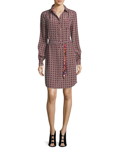 Fairfax Foulard Long-Sleeve Printed Shirtdress