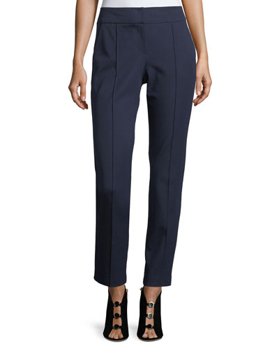 Mid-Rise Bi-Stretch Straight-Leg Cotton Pants