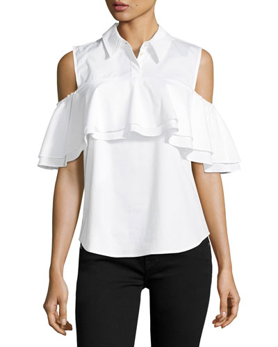 Polished Shirting Ruffled Cold-Shoulder Top
