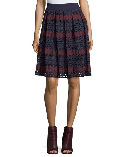 Diamond Lace Full A-Line Skirt