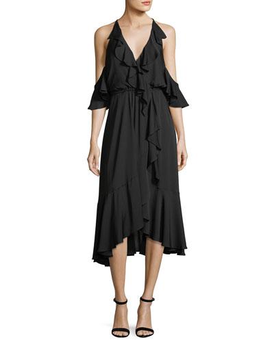 Bryce Cold-Shoulder Ruffled Stretch-Silk Dress