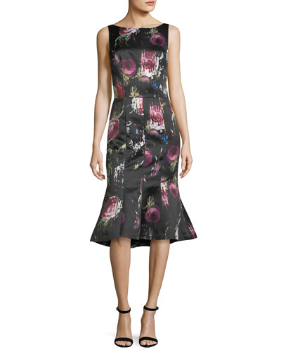 Sleeveless Floral-Print Flounce-Hem Midi Dress