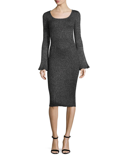 Milly Flare - Sleeve Ribbed Metallic Sweater Dress