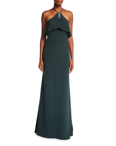 Halter-Neck Sleeveless Evening Gown w/ Jewel