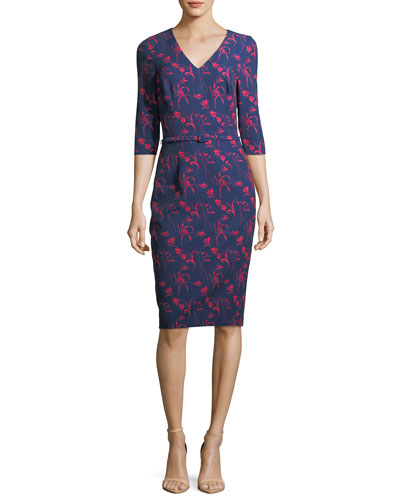 Floral-Print 3/4 Sleeves Crepe Sheath Day Dress