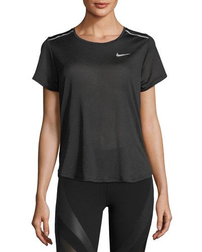 Breathe Short-Sleeve Open-Back Running Top