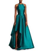 High-Neck Racerback Satin Sculptural Evening Gown