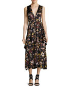 Verena V-Neck Sleeveless Floral-Print Satin Dress