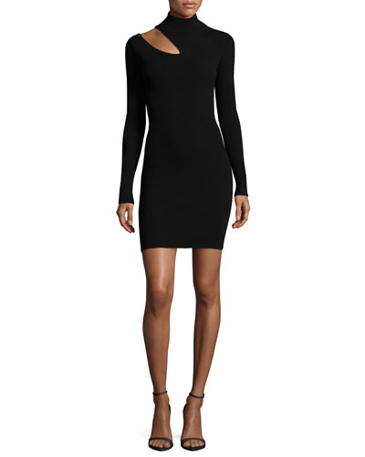 A.l.c. West Long - sleeve Slit - shoulder Fitted Sweater Dress