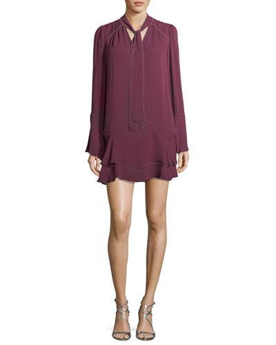Cathryn Tie-Neck Beaded Silk Mini Dress