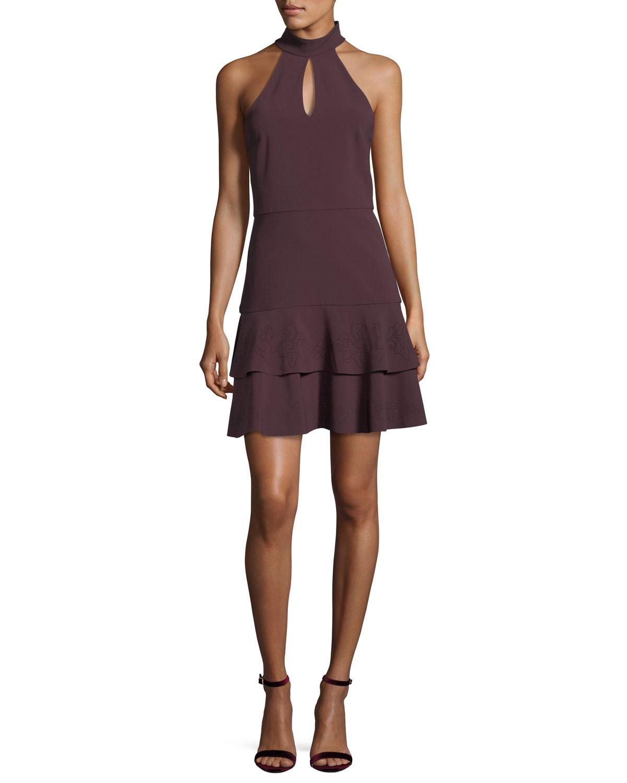 Luana Halter-Neck Sleeveless Mini Dress
