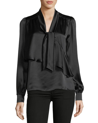 Kinsley Tie-Neck Long-Sleeve Silk Blouse