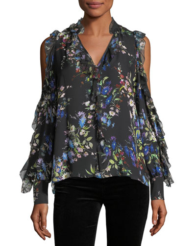 Elana Floral-Print Cold-Shoulder Silk Blouse