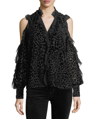 Elana Leopard Burnout Cold-Shoulder Blouse