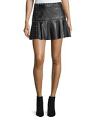 Cyrus Studded Leather Flounce Mini Skirt