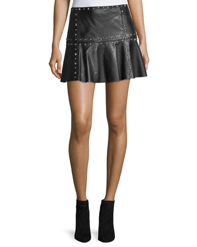 Cyrus Studded Leather Flounce Mini Skirt