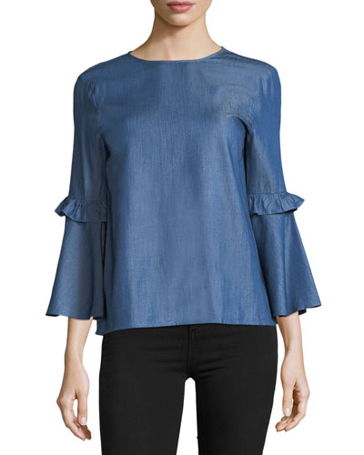 Chambray Ruffle-Sleeve Top